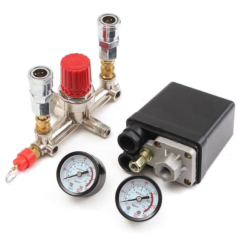 Air Compressor Pressure Valve Switch Manifold Relief Regulator Gauges 90~120 PSI 240V 17x15.5x19 cm Hot Sale
