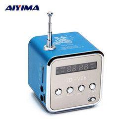 AIYIMA Portable Audio Speakers Micro USB Mini Stereo Speaker Music MP3 MP4 FM Radio TDV26 Radio FM Receiver With Digital LCD