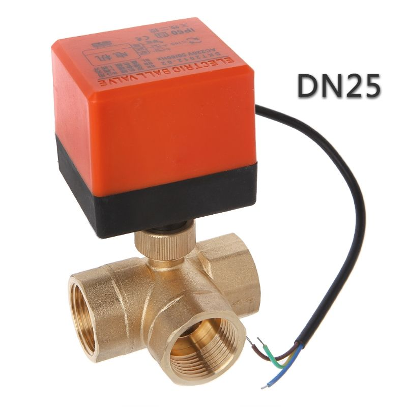 DN15/20/25 3 voies motorisé vanne à boisseau sphérique électrique trois lignes deux voies contrôle AC 220V LS'D outil