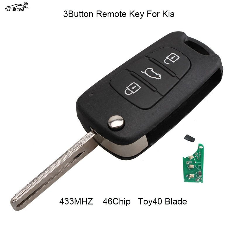 RIN 3 Buttons 433mhz Folding flip Remote Key Fob for Kia Rio Ceed Cee'd CeedPro Picanto Sportage with ID46 Chip TOY40 Blade