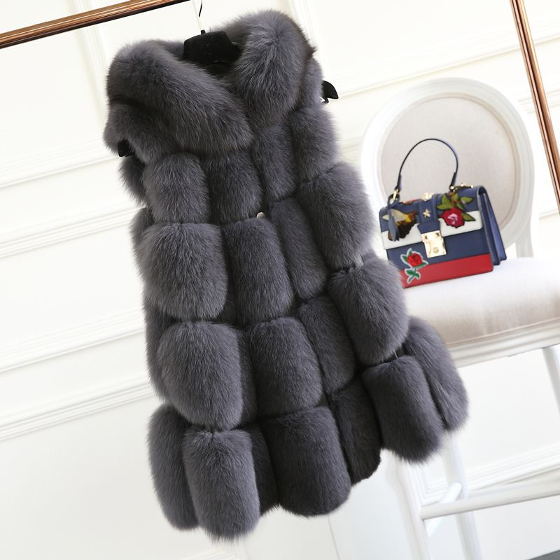 FURSARCAR Winter Real Fox Fur Vest For Women 2018 New 70cm Long Ture Fox Fur Gilet Natural Genuine Fur Waistcoat With Hood 10438