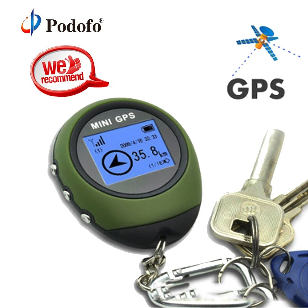 Podofo Mini GPS Tracker Tracking Device Travel Portable Locator Pathfinding Motorcycle Vehicle Outdoor Sport Handheld Keychain