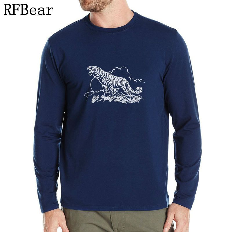 RFBEAR Brand cotton t shirt New Autumn and winter man fashion T-shirt spring long sleeved casual o-neck t shirt Brave tiger 2017