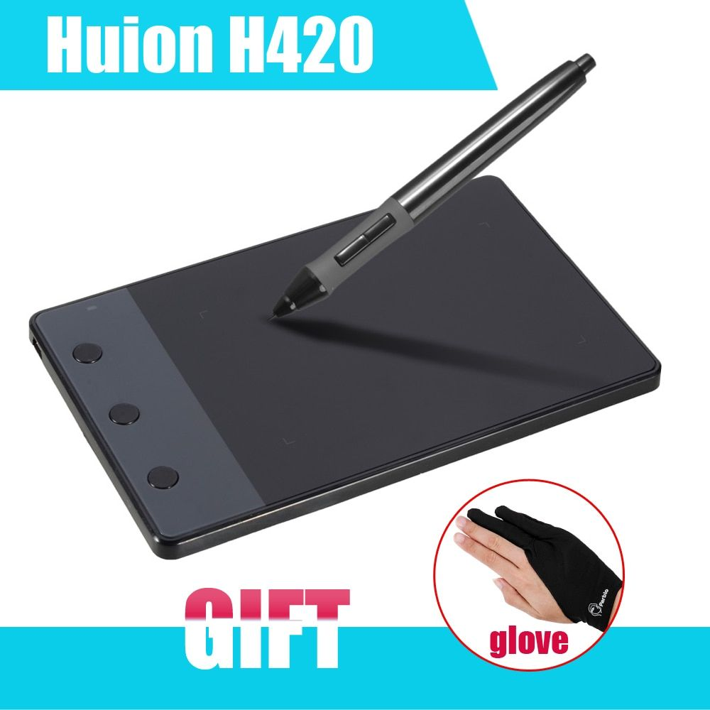 New HUION H420 420 Graphics Drawing Tablet 4 x 2.23 USB Digital Pen For PC Computer + Anti-fouling Golve as Gift P0018791