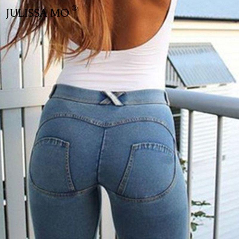 JULISSA MO Women Full Hip Skinny Elastic Waist Stretch Jeans New Fashion 2018 Autumn Winter Sexy Jeans Pencil Pants Leggings