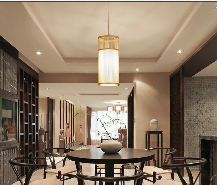Japanischen kreative einfache holz Pendelleuchten restaurant schlafzimmer nacht wohnzimmer gang bambus Pendelleuchten ZA627 ZL116