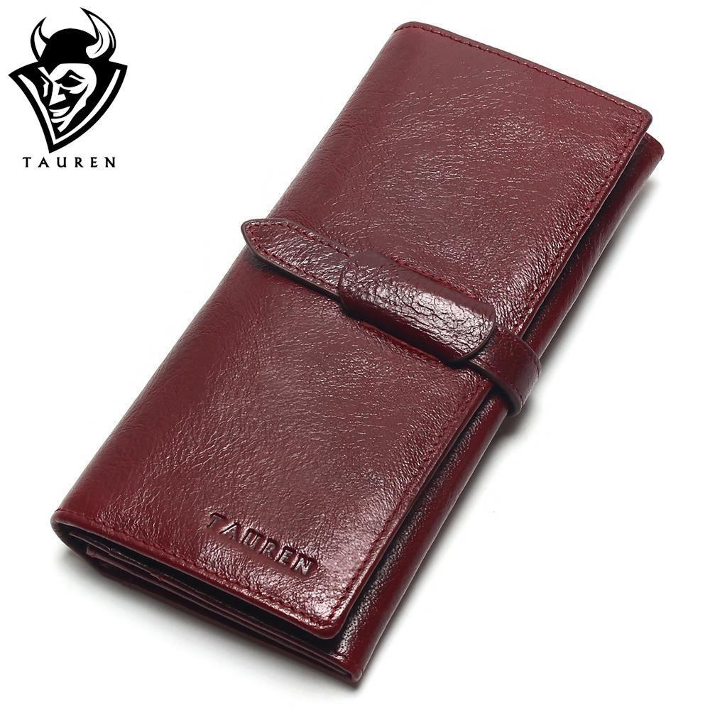 Tauren Retro Wine Red Color Wallets 100% <font><b>Genuine</b></font> Cowhide Leather High Quality Women Long Wallet Coin Purse Vintage Designer Male