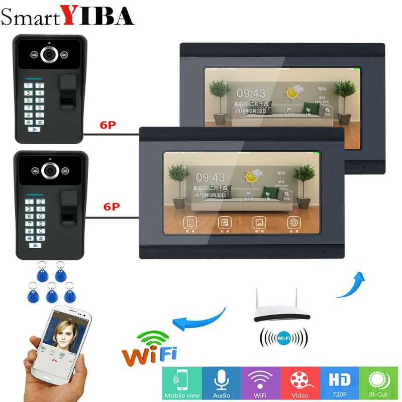 SmartYIBA 2*7inch Wired/Wifi Fingerprint RFID Password Video Door Phone Doorbell Intercom Entry System Support Remote APP 2 Cam