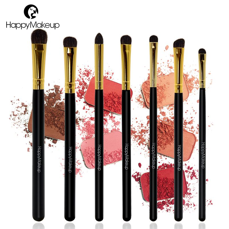 Happy Makeup Pro 7pcs Makeup Cosmetic Pony Horse Hair Smudger Eyeshadow Eye Shader Blending Brushes Brush Sets with Retail Pack