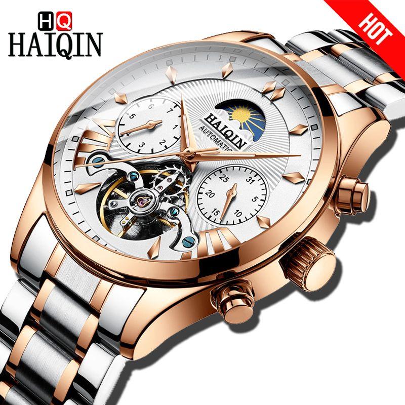 HAIQIN luxus Marke Männer Uhren Automatische Mechanische Uhr klassische Business Uhr Männer sport Wasserdichte Männliche armbanduhr Relogio
