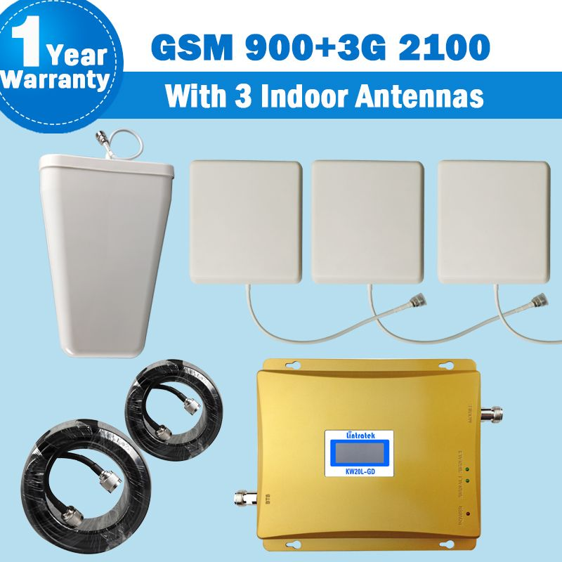 3G Signal Amplifier GSM 900 WCDMA 2100MHz Phone Signal Booster Repeater Amplifier Mobile Signal Booster +3 Panel Antennas S41