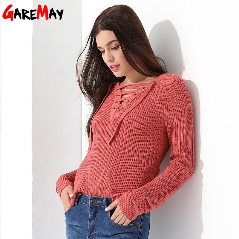 Sweater Women Pullover Long Sleeve Knitted jumper Sexy Tops Winter Women's Sweaters Knitwear <font><b>Pull</b></font> Femme Hiver 2018 GAREMAY