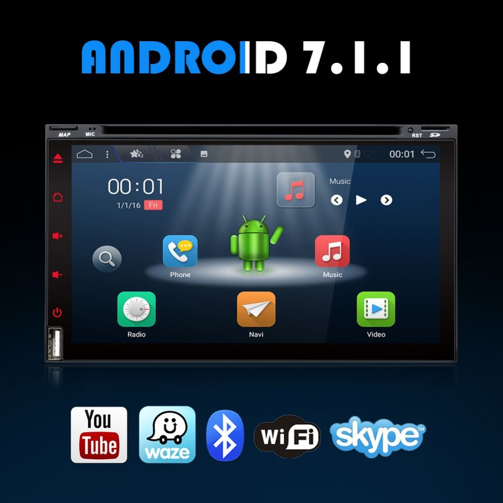 Bosion Quad Core Android 7.1 Car DVD Player Radio Stereo Universal with GPS Navi Bluetooth Multimedia System