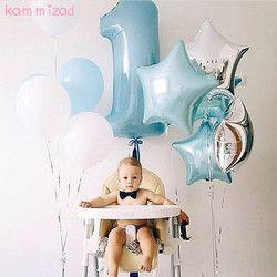 KAMMIZAD bebé 1st cumpleaños set rosa azul número Foil globos cumpleaños decoraciones niños balloons party b suministros