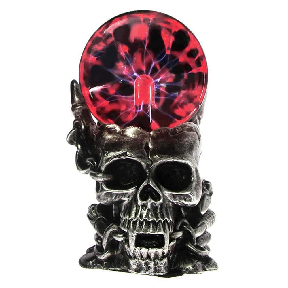 Magic Skull Head Glass Sculpture Statue Lightning Plasma Ball Touch Sensitive Vampire Skull Head Decorative Accent Figurine
