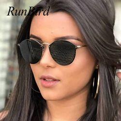 2018 Nouveau Fishion Cat Eye lunettes de Soleil Femmes De Luxe Mignon Sans Monture Lunettes de Soleil Rétro Lunettes De Soleil Pour Dames Marque Designer 1332R