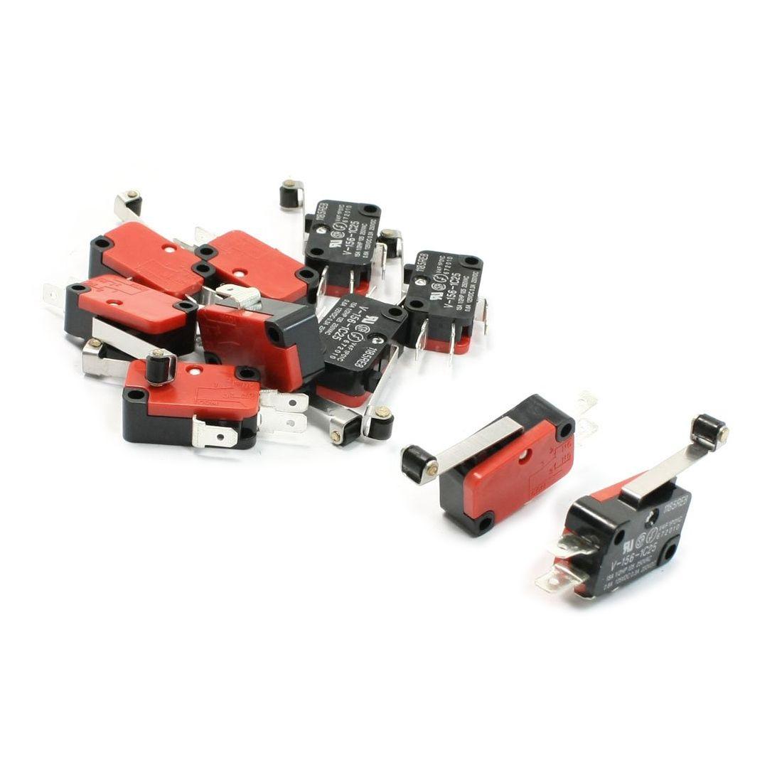 EWS 10 Pcs Micro Limit Switch Long Hinge Roller Lever Arm Snap Action LOT