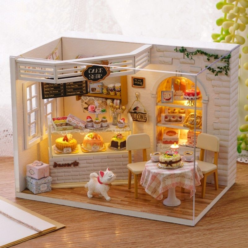 CuteRoom H-014 Cake Diary Shop DIY Hnadmake Dollhouse With Music Cover Light House Model Best Toy Gift For Gift Friend
