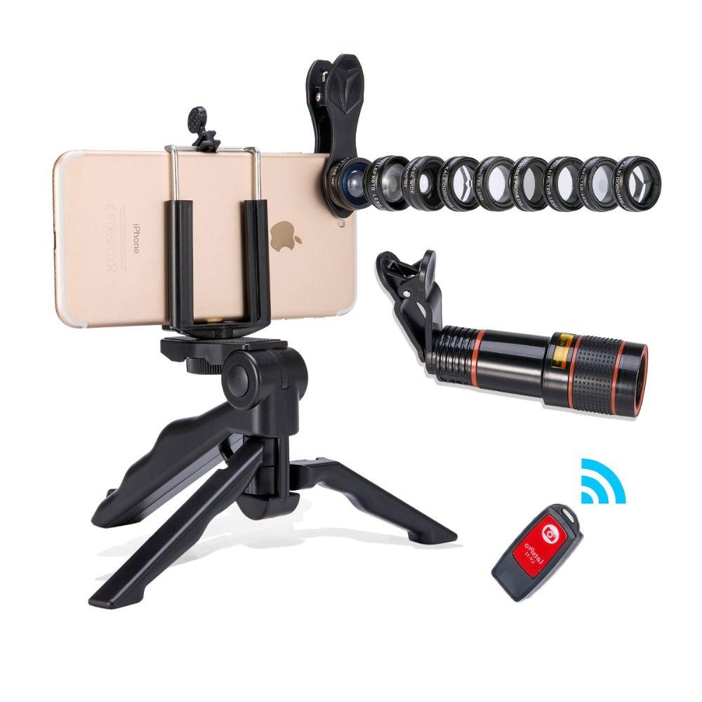 2018 Nouvelle Pratique Caméra lentille 13 dans 1 Akinger mobile téléphone lentille Kit Fisheye Grand Angle macro 12X télescope pour smartphones