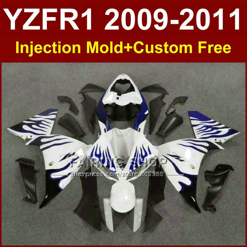 White blue motorcycle fairings for YAMAHA YZFR1 2009 2010 2011 Injection mold YZF R1 09 10 11 12 R1 bodyworks YZF1000+7Gifts
