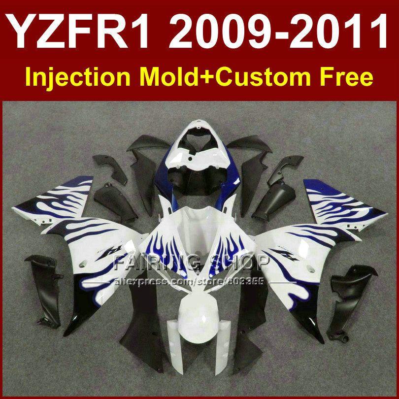 Weiß blau motorrad verkleidungen für YAMAHA YZFR1 2009 2010 2011 spritzgießwerkzeug YZF R1 09 10 11 12 R1 bodyworks YZF1000 + 7 Geschenke