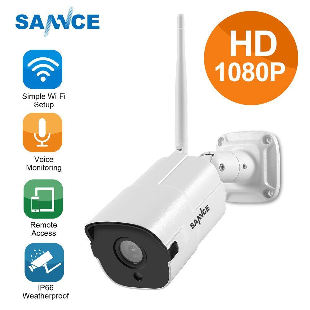 SANNCE HD 1080P IP Camera Wireless Wifi Bullet Camara Outdoor Waterproof Night Vision IR Cut Onvif P2P Home Security Camara 2018