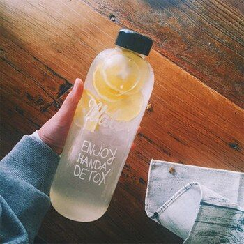 1000ml/600ml Large Capacity Sports Fruit Lemon Juice Drinking Bottle Infuser Clear Portable Plastic Water Bottle