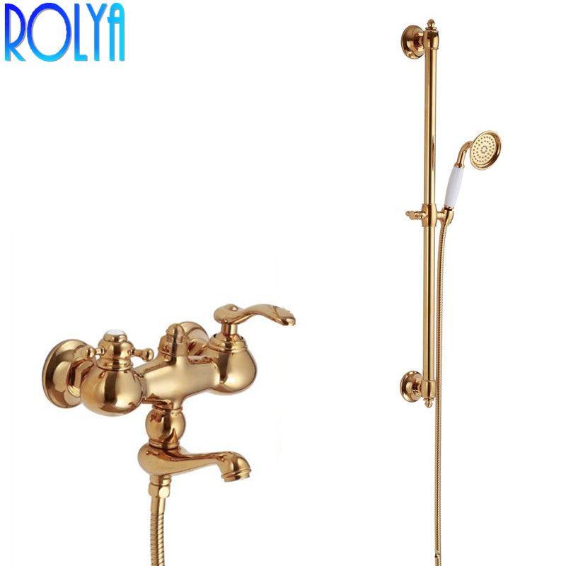 ROLYA Solide Messing Luxuriöse Goldenen In Wand Montiert Badewanne Wasserhahn mit Dusche Schiene