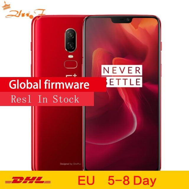 Original OnePlus 6 8 GB 256 GB Snapdragon 845 Octa Core AI Dual Kamera 20MP + 16MP Gesicht Entsperren Android 8 smartphone handy