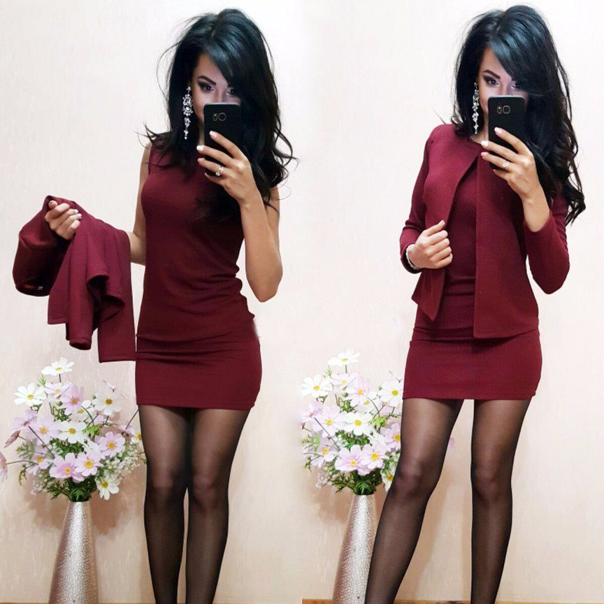 2018 New Arrival Fashion Autumn Suits Sexy Sheath O-Neck Above Knee Mini Dress Full Sleeve Casual Coat Two Pieces Women Sets