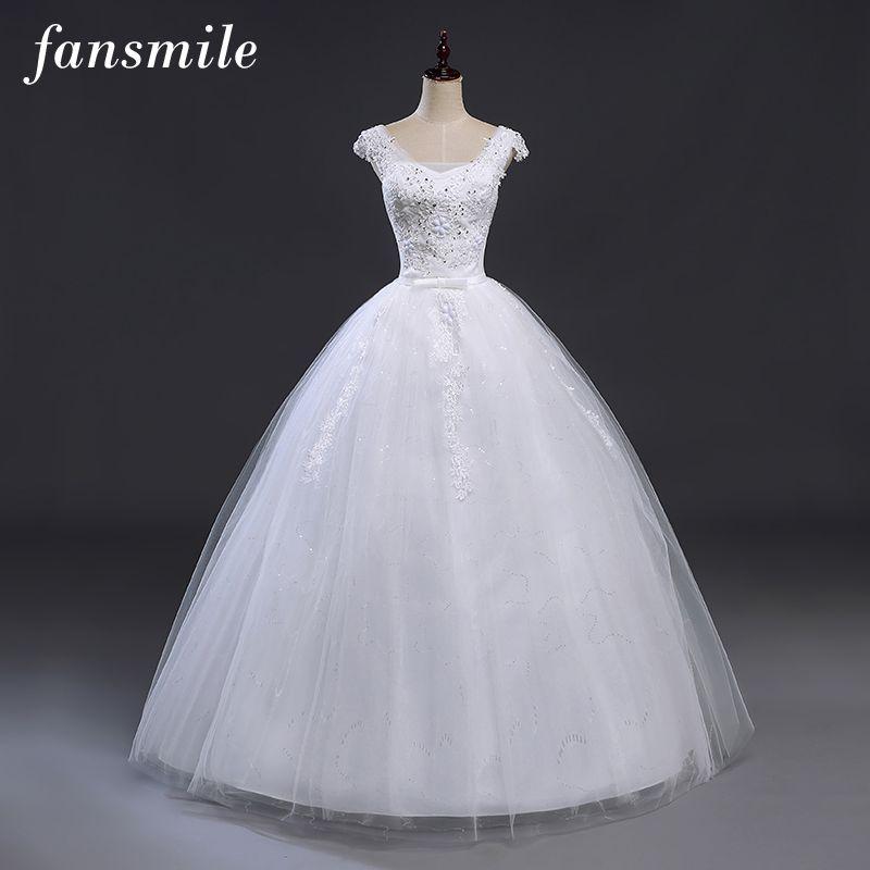 Fansmile Bridal Ball Gowns Plus Size Lace Up Wedding Dresses 2017 Double Shoulder Vintage Vestidos Noiva Robe de Mariee
