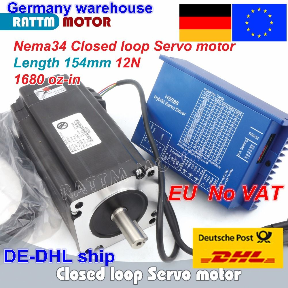 1 Set Nema34 Closed Loop 12N.m Servo motor Stepper Motor 6A 154mm & HSS86 Hybrid Step-servo Driver 8A CNC Controller Kit