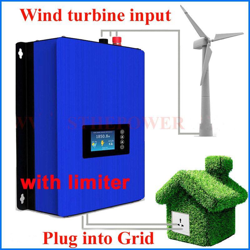 1000W Wind Power Grid Tie Inverter with Dump Load Controller/internal limiter for 24v 48v 60v 72v AC DC wind turbine generator