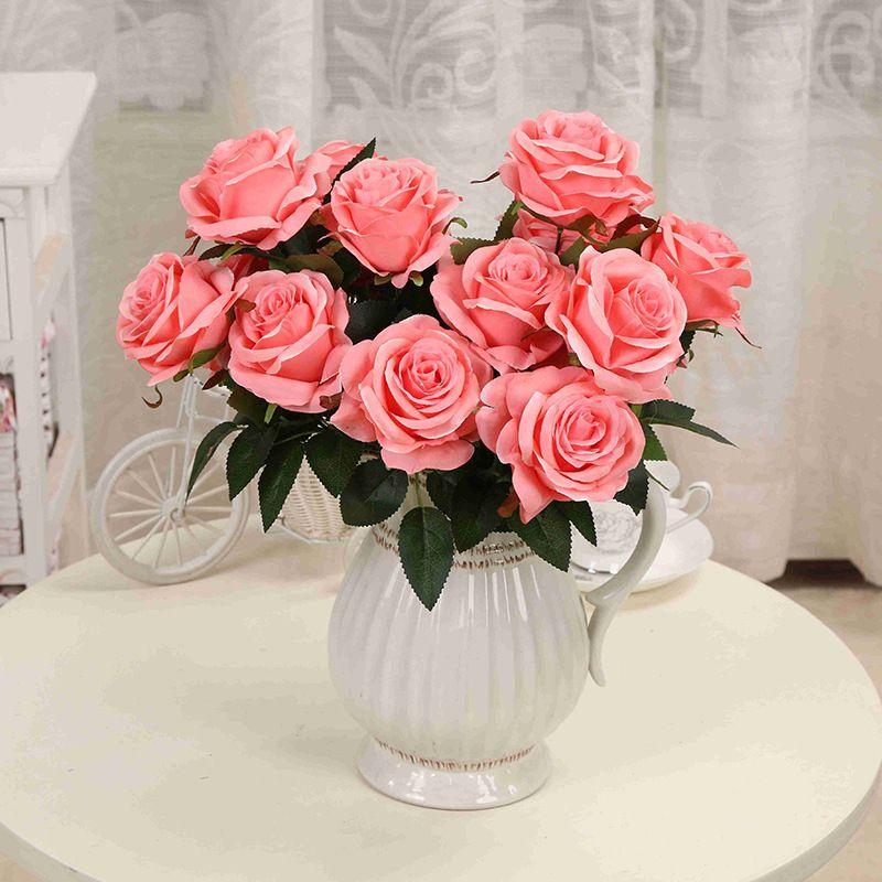 1 Bouquet fleur artificielle 9 têtes Rose bricolage fausse fleur de soie pour la maison décorative mariage vacances décoration