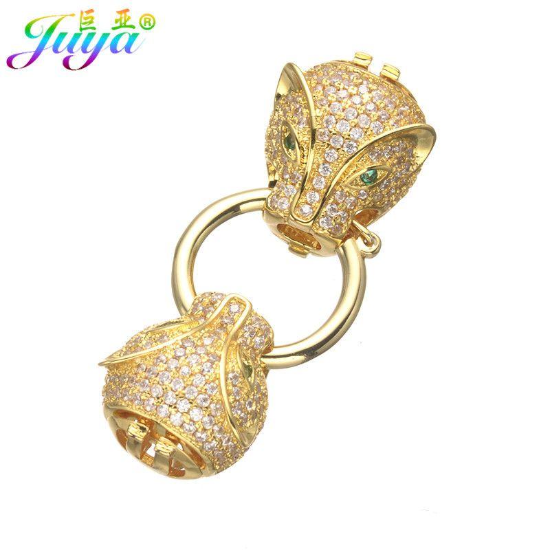 Composants de bijoux à bricoler soi-même fournitures tête de léopard Dragon bloc perles fermoir pour pierre naturelle perle cristal Bracelet collier faisant