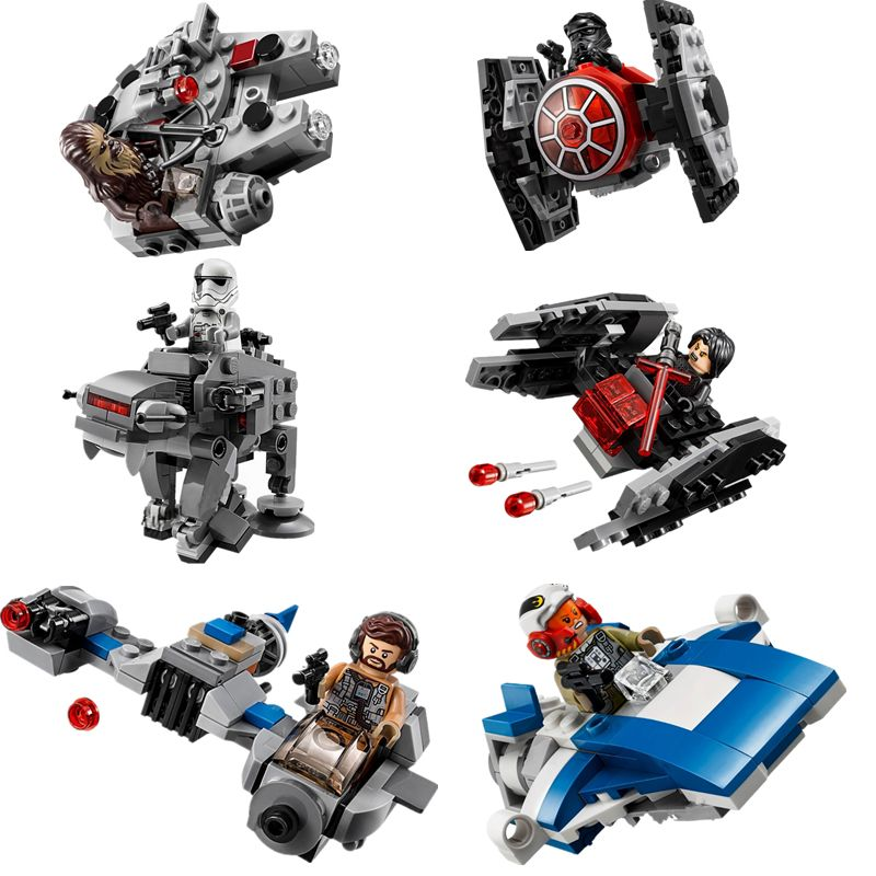 New 1pcs Star Wars Spaceship Microfighters Millennium AT-ST Fighters Building Blocks Bricks Toys with Legoinglys 75193 75194