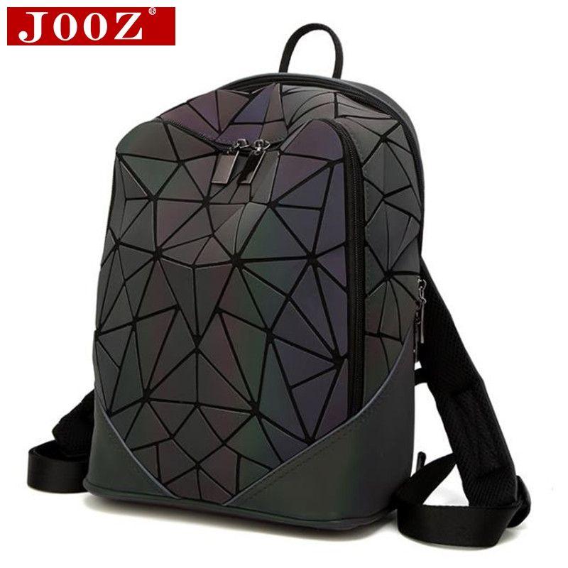 JOOZ Fashion Women backpack PVC geometric luminous backpack 2017 new Travel Bags for School Back Pack holographic backpacks