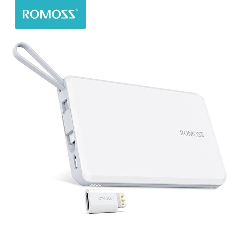 ROMOSS QS05 5000 mAh batterie externe avec câble Micro USB intégré batterie externe taille de voyage chargeur Portable pour iPhone