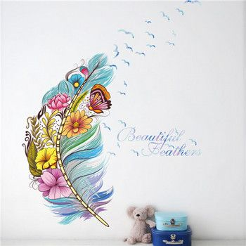 % colourful 3d vivid feather butterfly birds flower wall stickers home decoration living room pvc wall decals diy mural  poste