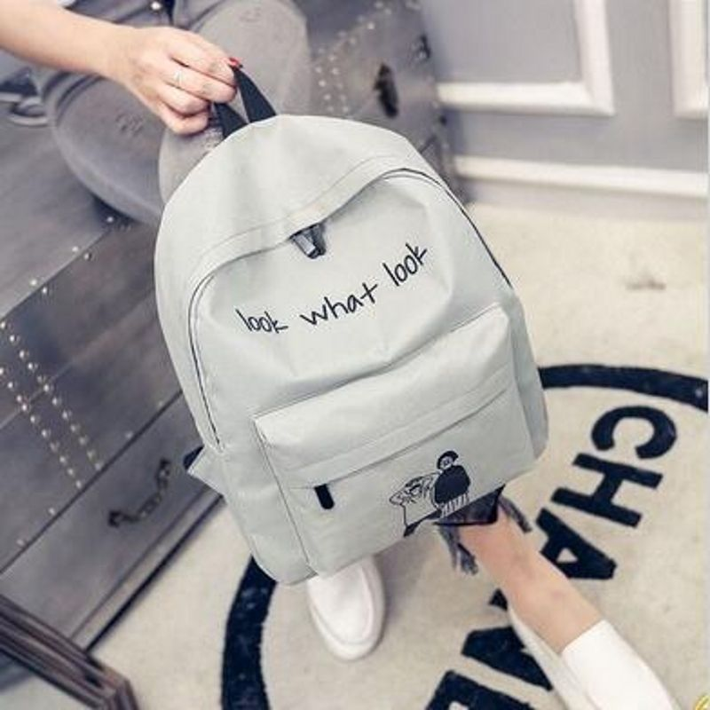 2018 CCV01 Canvas backbag printing double backpack large capacity men and women backbags