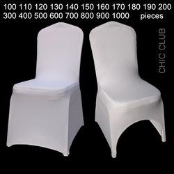 Blanc Universal Stretch Fête de Mariage De Polyester Spandex Housses de Chaise