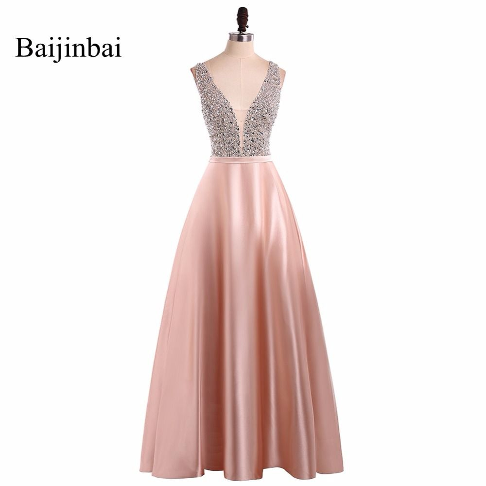 Baijinbai New Fashionable V Neck Sleeveless Prom Dresses 2019 Vestido De Festa Beading Long A Line Back Party Dresses Custom541