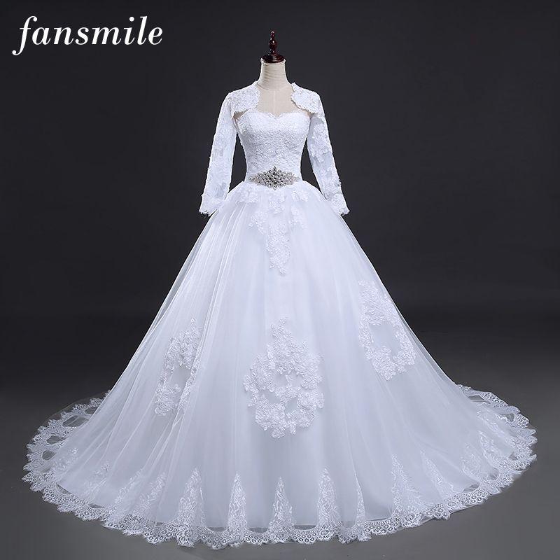 Fansmile Two Piece Long Sleeve Jacket Wedding Dresses 2017 Plus Size Bridal Ball Gowns Vestido de noiva Robe De Mariage FSM-122T