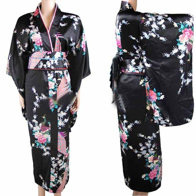 New <font><b>Arrival</b></font> Black Vintage Japanese Women's Kimono Haori Yukata Silk Satin Dress Mujeres Quimono Peafowl One Size H0030