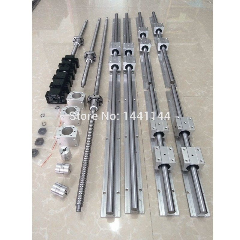 6 sets linear guide rail SBR16 + SFU1605 ballscrew set + BK12/BF12 + Nut housing + Coupler CNC parts