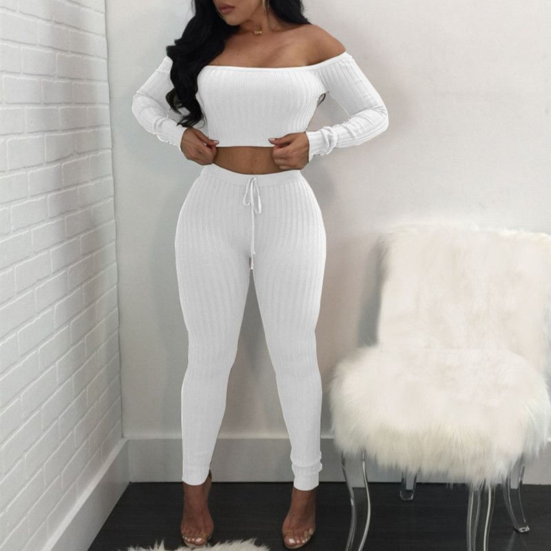 Sexy Club Two Piece Set Women Clothes High Elastic Low Cut Crop Top And Pants Suits Girls Fitness Casual Bodycon Pant Pcs Set