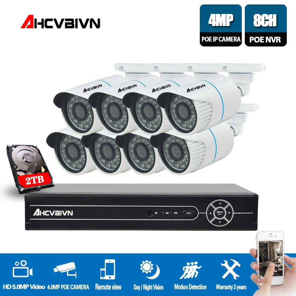 AHCVBIVN 8CH 5MP 1080 p CCTV Kamera System POE NVR Kit 4 karat HDMI 4.0MP Outdoor Sicherheit IP Kamera P2P video Überwachung System Set