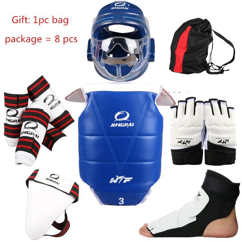 Free shipping Hot Sale! Adult child thickening karate taekwondo protector 8pcs taekwondo pants set flanchard protective bag