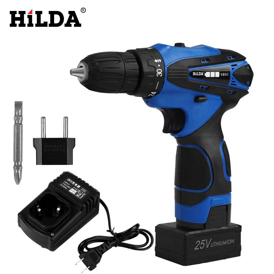 HILDA 25 V Rechargeable Au Lithium Batterie Sans Fil tournevis main perceuse électrique ménage électrique tournevis
