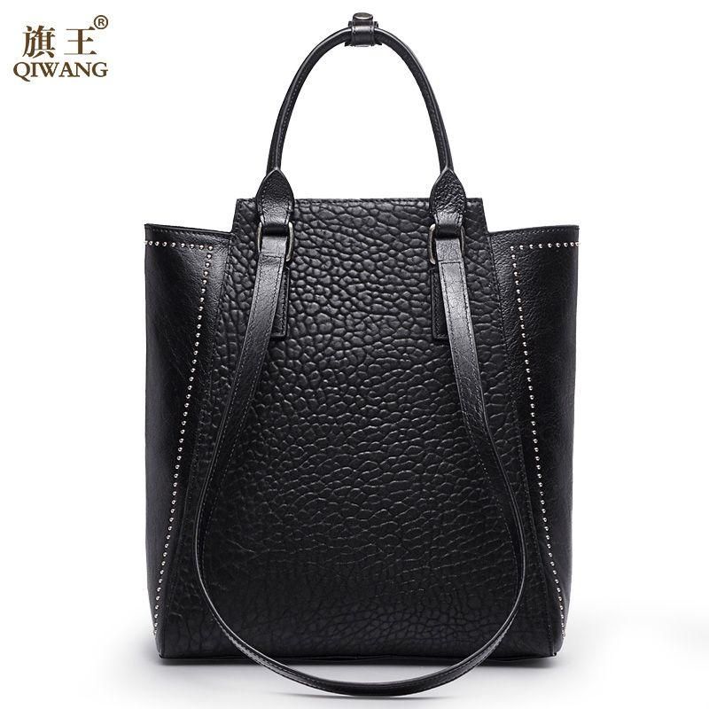Grand Rivet femmes sac chine marque sac à main avec Long haut poignées sangle sac à main en cuir véritable sac pour femmes mode